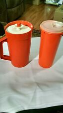 vintage orange tupperware pitcher and drink container