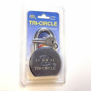 Tri-Circle Solid High Security Long Hardened Shackle Padlock with 3 Keys - 65mm