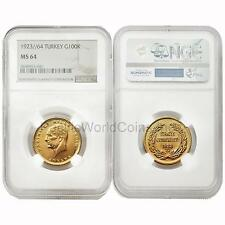 Turkey 1923/64 100 Kurush Gold NGC MS64