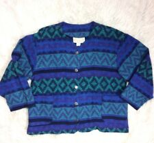Vintage 90s Bonjour Womens Medium Blue Cardigan Flannel Aztec V Neck Sweater USA