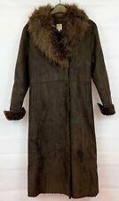 TU Womens Brown Warm Winter Long Suede Effect Coat Size 12 Russian