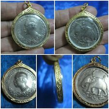 Silver Coin in Gold Brass Locket Pendant Thai Amulet King Rama 5 HS 1249 G11-CF