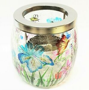 Yankee Candle WILDFLOWERS Crackle Glass TEALIGHT CANDLE HOLDER Butterfly Bee