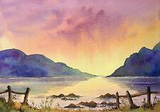 """Pintura Original Acuarela Grandes Montañas Azules 14"""" X 10"""" Pamela West"""