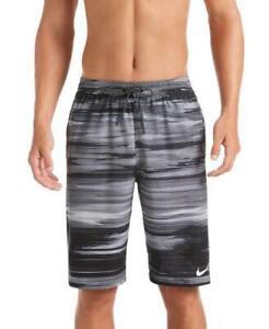 Nike Swim Men's Sky Stripe Vital 11-inch Volley Board Shorts Black