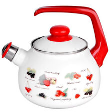 Enamel Kettle with Lid and Whistle. High Quality Enamelware Made in Serbia 2.5 L