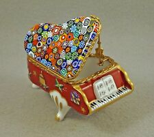 PORCELAIN FRENCH LIMOGES TRINKET BOX GRAND PIANO CANDY CANE & MURANO MILLEFIORI