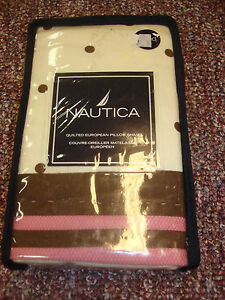 Nautica Savannah Euro Sham Quilted Pink Brown Dots Pillow Cover Unused New