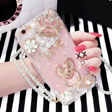Luxury 3D Bling Pearl Mickey Kitty Handmade Hard Phone Cover Case For Cell Phone
