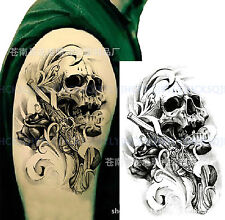 Temporary Tattoo Waterproof Skull & Gun Body Arm Leg Art Stickers Removable