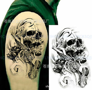 Temporary Tattoo Waterproof Skull & Gun Body Arm Leg Art Stickers Removable Men