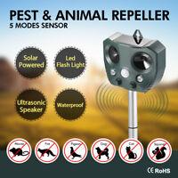 Solar Ultrasonic Pest & Animal Repeller Motion Sensor Bird Rat Possum Repellent'