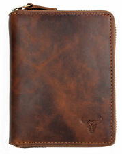 Men's natural strong genuine leather wallet with bull with metal zipper around