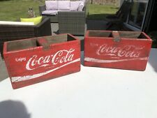 More details for 2 vintage style red coca cola wooden boxes 30cm with bar/handle