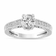 Diamond Engagement Ring 1.20 Carat 14K White Gold Vintage Antique Style