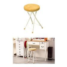 Folding Stool Chair Vanity Round Cushioned Fabric Yellow PC-31YE Azumaya Japan