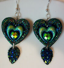 UNIQUE HEART SHAPED PEACOCK COLORS EARRINGS BLING VALENTINES DAY nora winn