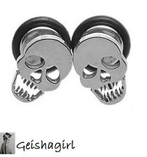 1 Pair Steel Skull Fake Ear Studs Plugs Cheater Piercing Tunnels Earrings UK