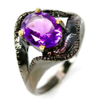 Handmade Jewelry Design! Natural Amethyst 925 Sterling Silver Ring / RVS315