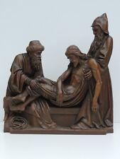 ALTE SKULPTUR RELIEF GRABLEGUNG CHRISTI  JESUS HOLZ HANDGESCHNITZT KUNST ANTIK