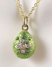 "Sale! Imperial Peridot Star Egg Pendant Gold-plated with Crystals &18"" G/P Chain"