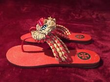 4d955920a19fa Tory Burch Orange Leather Women s Flip Flops with straw flower
