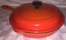 LE CREUSET 20 Cast Iron Double Spout Skillet Enamel Pan w/ Lid Made in France