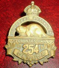 CAP BADGES-WW1 CANADIAN CEF 254th QUINTES OWN REF CHARLTON 254-4