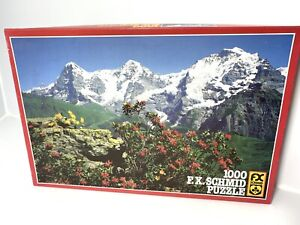 Vtg 1000 Piece Jigsaw Puzzle Eiger Switzerland Mountain Range Wild Flowers