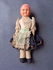 Antique nice dress papier mache? head jointed arms & 00004000  legs fabric doll