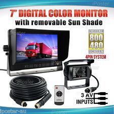 "7"" Monitor 12V 24V Reversing CCD Camera Truck Caravan Kit 3AV 4PIN 33Ft Cable"