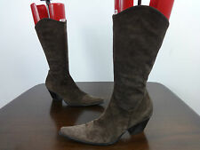 "Womens boots size 3 ""At Last"" brown suede mid calf 2"" cuban heels ladies EUR 36"