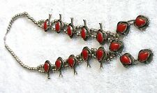 Pear Red Coral Squash Blossom Necklace Vintage Navajo .900 Coin Silver 24 Inch