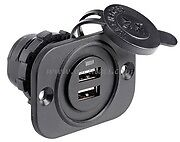 Double USB Socket 12 24 Volt Boat Caravan Motorhome Phone Tablet Charger USB3BK