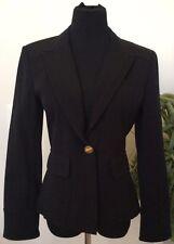 NWT St. John Sport Women Black Cotton Blend Denim Blazer Jacket Size S MSRP $900