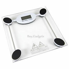 180KG DIGITAL GLASS WEIGHING SCALES BATHROOM DIET CONTROL WEIGHT LOSS BMI HEALTH