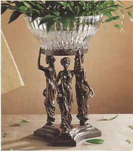 DECORATIVE BOWLS - THREE GRACES CENTERPIECE STAND WITH CRYSTAL BOWL