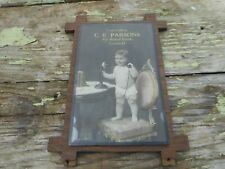 VINTAGE CE PARSONS BAKED GOODS LITCHFIELD MICHIGAN Advertising Picture Sign BABY
