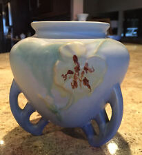 Lovely Weller Blue/Green Pottery Footed Panella Vase 1930s Excellent Condition!
