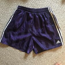 Vintage Mens Adidas Satin Soccer Shorts Size M Shiny Glanz Nylon Lined Purple