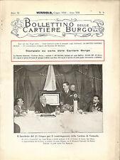 BOLLETTINO DELLE CARTIERE BURGO _ 1930 _ VERZUOLO _ PIEMONTE _ Cuneo _ Saluzzo