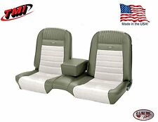 Deluxe PONY Seat Upholstery Ford Mustang, Front Bench Seat - Ivy Gold & White