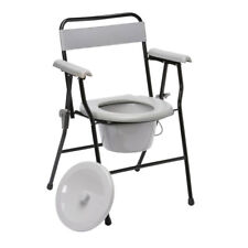 Drive Folding Commode Chair Seat Backrest Mobility Aid Portable Toilet Support