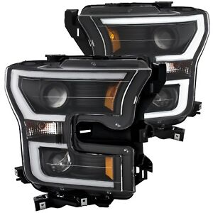 ANZO 2015-2017 FORD F150 HEAD LIGHTS CLEAR LENS WITH BLACK HOUSING