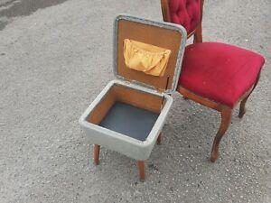 Vintage MCM retro KITSCH craft SEWING crochet BOX basket WICKER DANSETTE legs