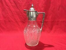 Rare Russian Silver Mounted Claret Jug 27.4 cm 800 Silver & Cut Glass 1908