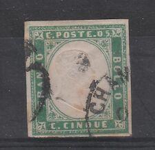 FRANCOBOLLI 1855 SARDEGNA 5 C. VERDE SMERALDO Z/164