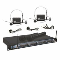 Sound Around Pyle VHF Wireless Rack Mount Microphone System, 2 Handheld Mics,