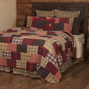 VHC Brands Rustic California King Quilt Red Patchwork Wyatt Cotton Bedroom Decor