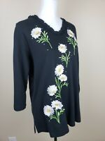 Quacker Factory Size Medium Black Knit Top Embroidered Floral Sequins NWT